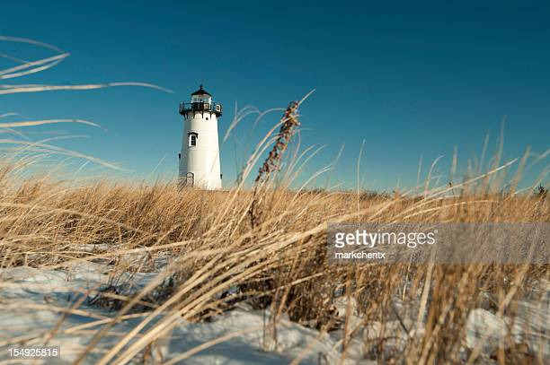Ground level view of a lighthouse in Edgartown Cape Cod