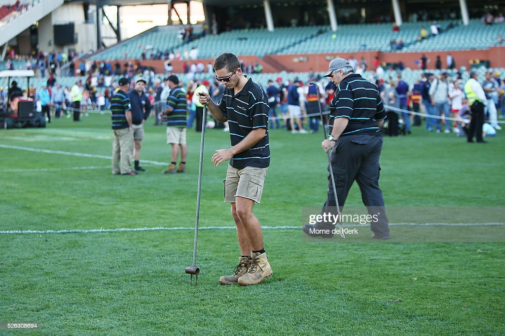Ground staff tend to the pitch after the round six AFL match between the Adelaide Crows and the Fremantle Dockers at Adelaide Oval on April 30, 2016 in Adelaide, Australia.