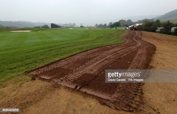 Ground under repair along the spectator areas next to the first fairway of the Twenty Ten Course at Celtic Manor used for the 2010 Ryder Cup at...