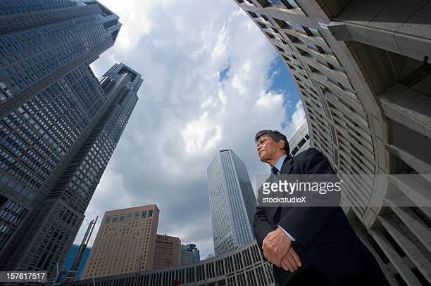 Ground view of a businessman in a city