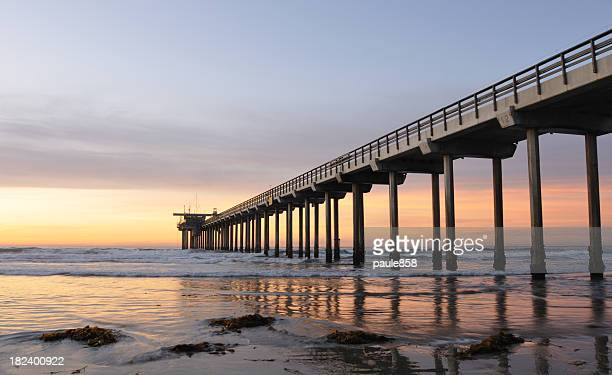 Ground view of Scripps Pier in the sunset