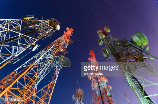 Ground view of telecommunication towers