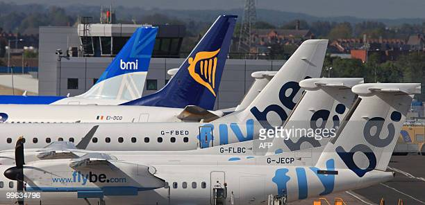 Grounded aircraft sit on the apron at Belfast City Airport in Belfast Northern Ireland on May 17 2010 London's main airports Heathrow and Gatwick...