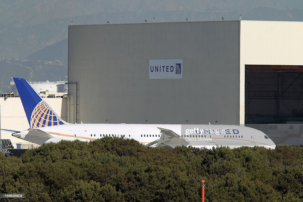 A grounded Boeing 787 Dreamliner jet operated by United Airlines is parked at Los Angeles International Airport (LAX) on January 17, 2013 in Los Angeles, California. The Federal Aviation Administration has grounded all U.S.-registered Boeing 787 Dreamliner jets for the repair of batteries believed to be linked to a fire risk following a number of related 787 aircraft incidents this month.
