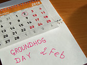 Groundhog day February calendar, Notepad with date 2 Feb.