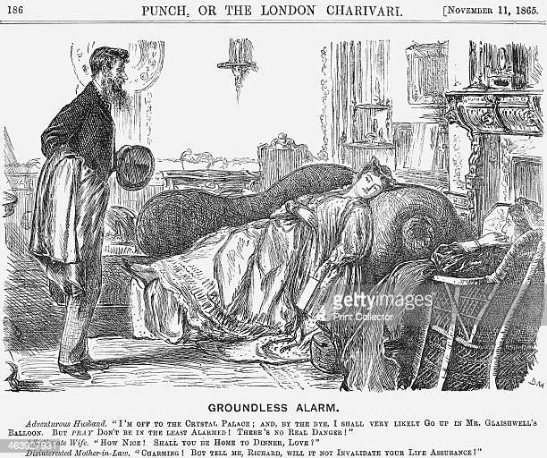 'Groundless Alarm' 1865 The adventurous husband announces I'm off to the Crystal Palace and bye the bye I shall very likely go up in Mr Glaishwell's...
