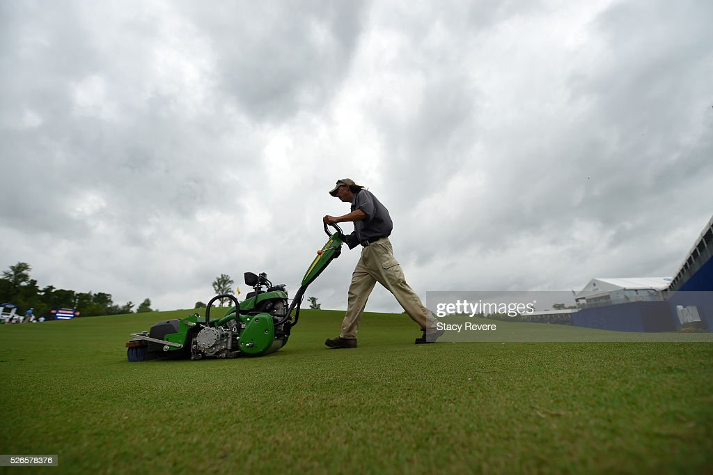 Grounds crew work on the course prior to the start of play during the third round of the Zurich Classic at TPC Louisiana on April 30, 2016 in Avondale, Louisiana.