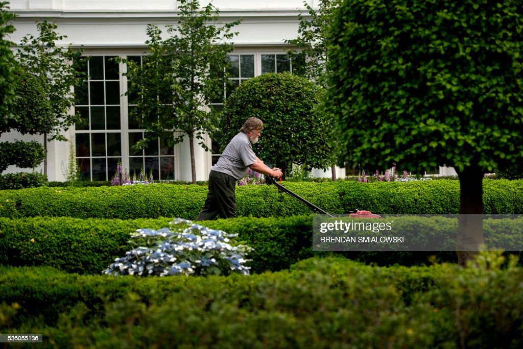 A grounds keeper cuts grass near the East Wing of the White House May 31, 2016 in Washington, DC. / AFP / Brendan Smialowski