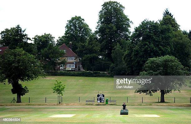 A groundsman prepares an adjacent pitch during day one of the LV County Championship Division One match between Middlesex and Somerset at Old...