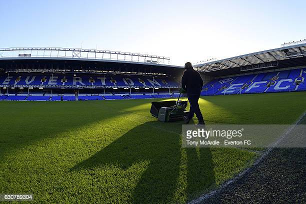 Groundsman Tony Balshaw prepares the pitch before the Barclays Premier League match between Everton and Southampton at Goodison Park on January 2...