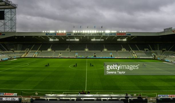 Groundsmen mow the pitch straight after the Premier League match between Newcastle United and Crystal Palace at StJames' Park on October 21 in...