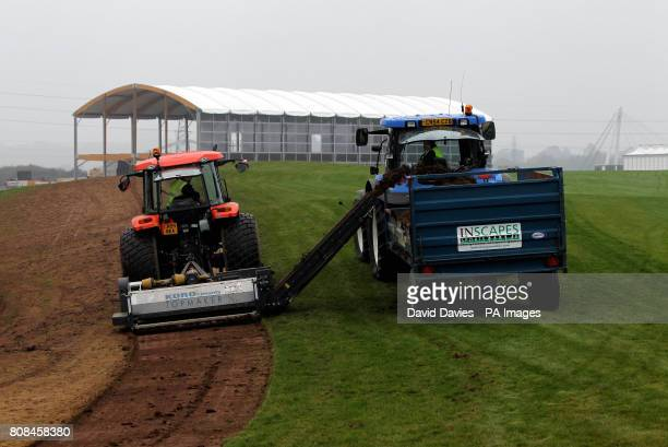 Groundsmen plough up the spectator walkways along the first fairway of the Twenty Ten Course at Celtic Manor used for the 2010 Ryder Cup at Celtic...