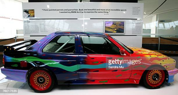 Group A racing version painted by Ken Done is displayed in the BMW Art Car Collection Exhibition at Auckland Museum Events Centre on August 8 2007 in...