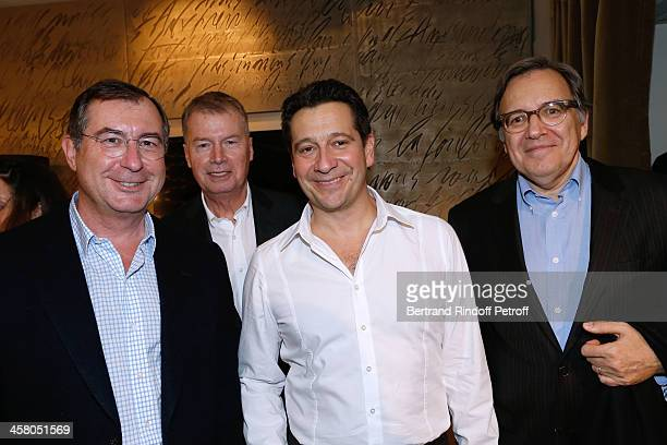 CEO Group Bouygues Martin Bouygues CEO Samsung France Jacques Mollet Laurent Gerra and CEO Group TF1 Nonce Paolini pose backstage following the show...