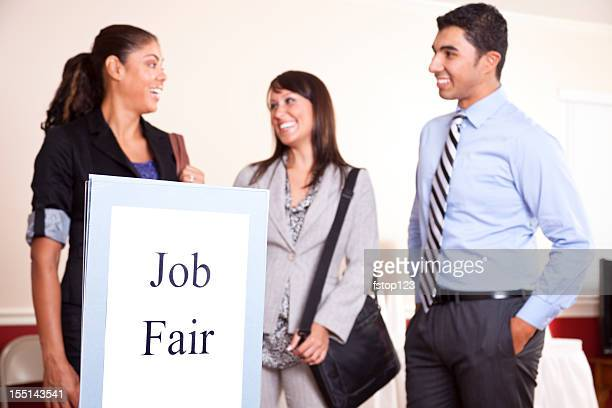 Group business people gathering for a job fair. Unemployment.