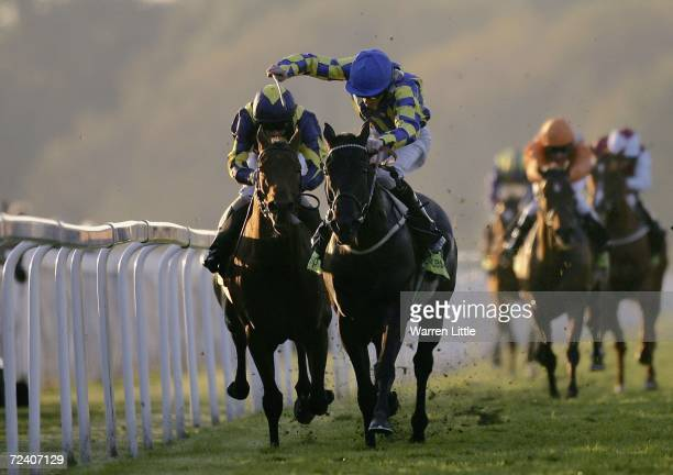 Group Captain ridden by Richard Hughes enroute to winning The Totesportcom November Stakes at Royal Windsor Race Course on November 4 2005 in Windsor...