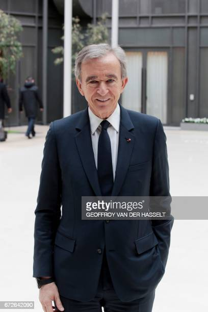 Group CEO Bernard Arnault poses following a press conference on April 25 2017 in Paris after the group said it plans to buy Christian Dior Couture a...