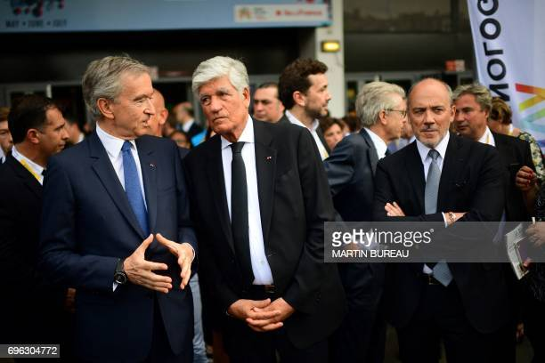 LVMH Group CEO Bernard Arnault Publicis Group Directory Board Chairman Maurice Levy and Chairman and CEO Orange Stephane Richard talk as they arrive...