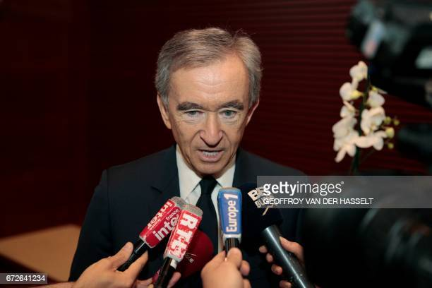 Group CEO Bernard Arnault speaks during a press conference on April 25 2017 in Paris after the group said it plans to buy Christian Dior Couture a...