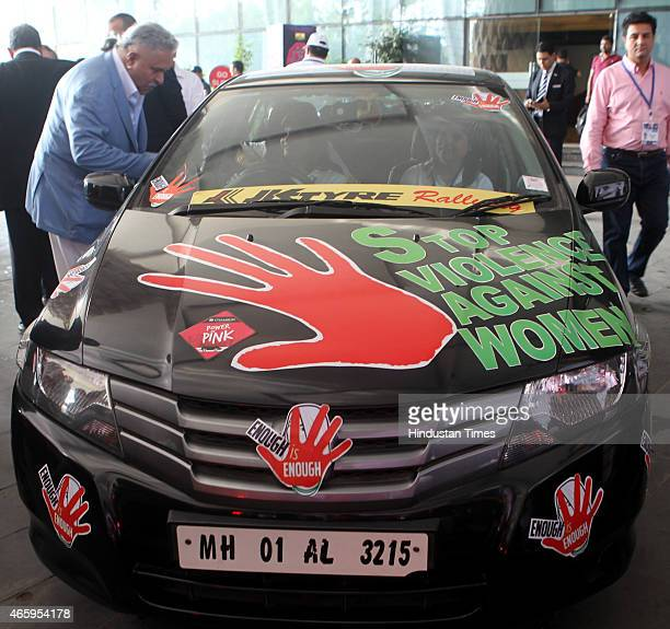 Group Chairman Vijay Mallya during Womens Car Rally To The Valley on March 8 2015 in Mumbai India Rally to the Valley is an event organized to...