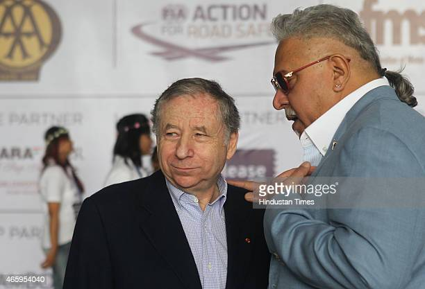 Group Chairman Vijay Mallya with International Automobile Federation president Jean Todt during Womens Car Rally To The Valley on March 8 2015 in...