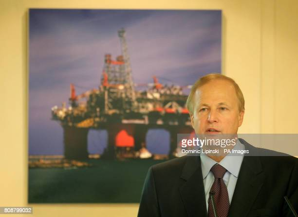 BP Group Chief Executive Bob Dudley at a press conference to announce BP's quarterly trading results at BP headquarters in St James's central London