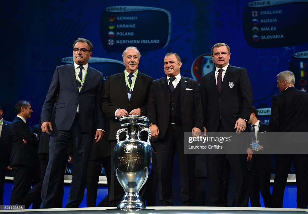 Group D managers, Ante Cacic Manager of Croatia, Vicente del Bosque Manager of Spain, Fatih Terim Manager of Turkey and Pavel Vrba Manager of the Czech Republic pose for photographs during the UEFA Euro 2016 Final Draw Ceremony at Palais des Congres on December 12, 2015 in Paris, France.