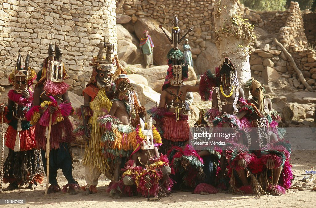 Group dance with rituals masks