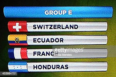 Group E containing Switzerland Ecuador France and Honduras is displayed on the big screen on stage behind the draw assistants Fernanda Lima and FIFA...