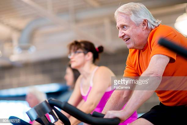 Group Spin Class at a Health Club