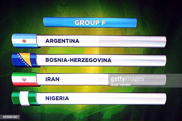 Group F containing Argentina BosniaHerzegovina Iran and Nigeria is displayed on the big screen on stage behind the draw assistants Fernanda Lima and...