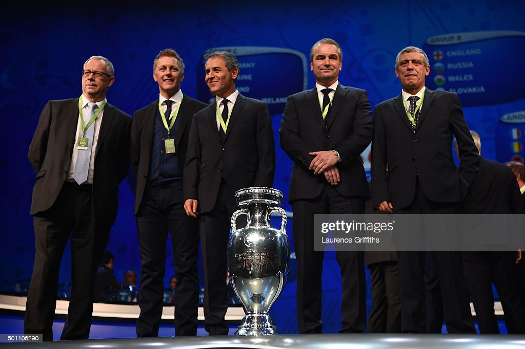 Group F managers, Lars Lagerback and Heimir Hallgrimsson Managers of Iceland,Marcel Koller Manager of Austria, Bernd Storck Manager of Hungary and Fernando Santos Manager of Portugal pose for photographs during the UEFA Euro 2016 Final Draw Ceremony at Palais des Congres on December 12, 2015 in Paris, France.
