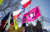 A group from Texas display their flags during a rally on the Mall for the March for Life antiabortion demonstration