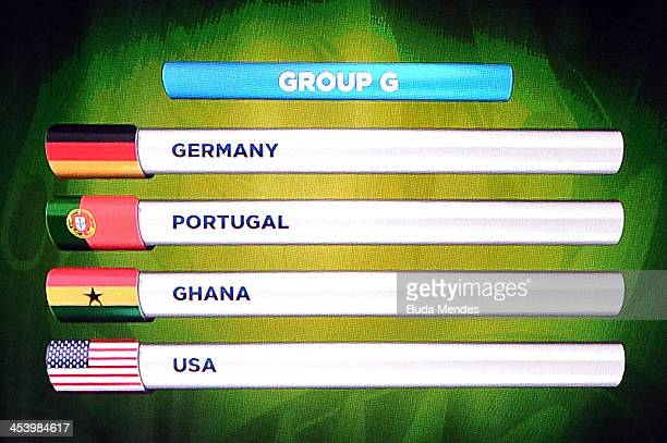 Group G containing Germany Portugal Ghana and USA is displayed on the big screen on stage behind the draw assistants Fernanda Lima and FIFA General...