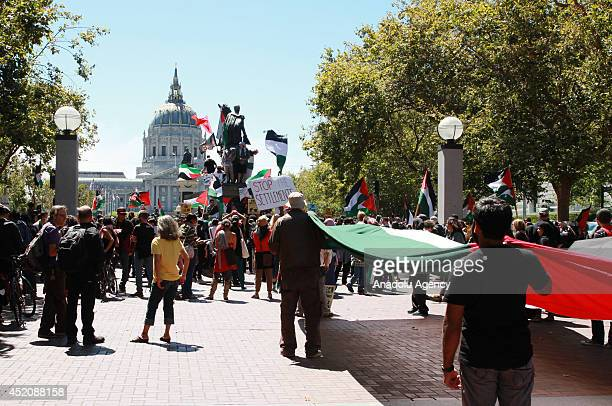 A group gather outside the San Francisco City Hall to protest the ongoing Israeli attacks on Gaza on July 12 California United States