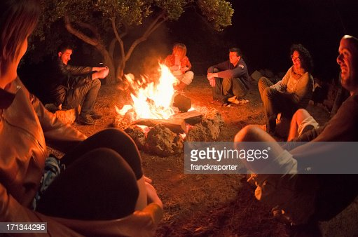 Group gathered around campfire in the woods