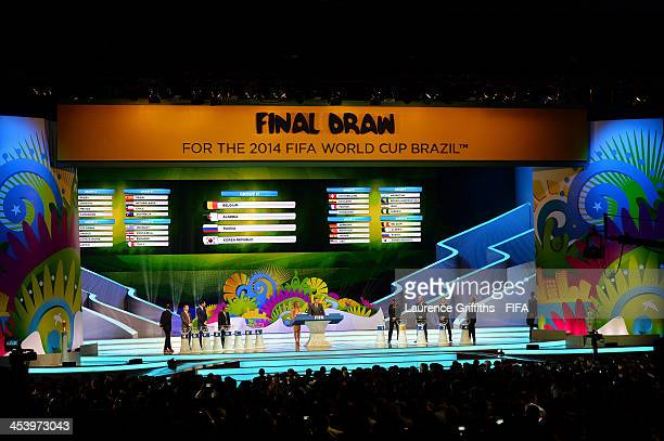 Group H containing Belgium Algeria Russia and Korea Republic is displayed on the big screen on stage behind the draw assistants Fernanda Lima and...