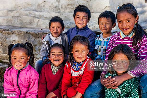 Group happy Sherpa children in Everest Region