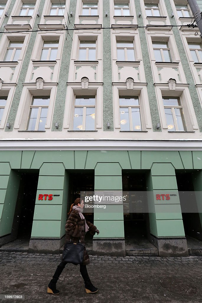 RTS Group logos sit outside the entrance to the Moscow Exchange in Moscow, Russia, on Thursday, Jan. 24, 2013. The Moscow Exchange, Russia's biggest bourse, plans to raise more than $500 million in an initial public offering, according to a person with knowledge of the matter. Photographer: Andrey Rudakov/Bloomberg via Getty Images