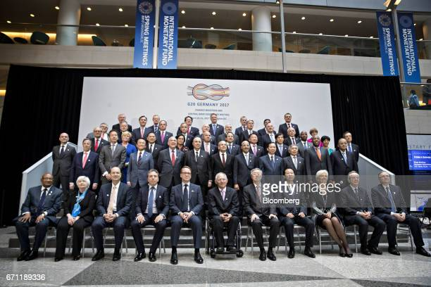 Group of 20 finance ministers and central bank governors including Anthony Maruping African Union commissioner for economic affairs front row left to...