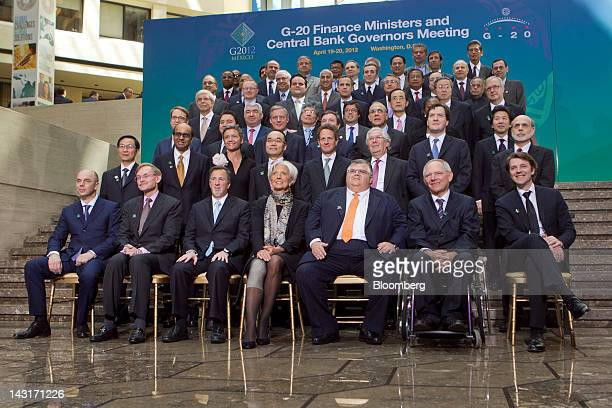 Group of 20 nations finance ministers and central bank governors have their family photograph taken during the International Monetary Fund and World...