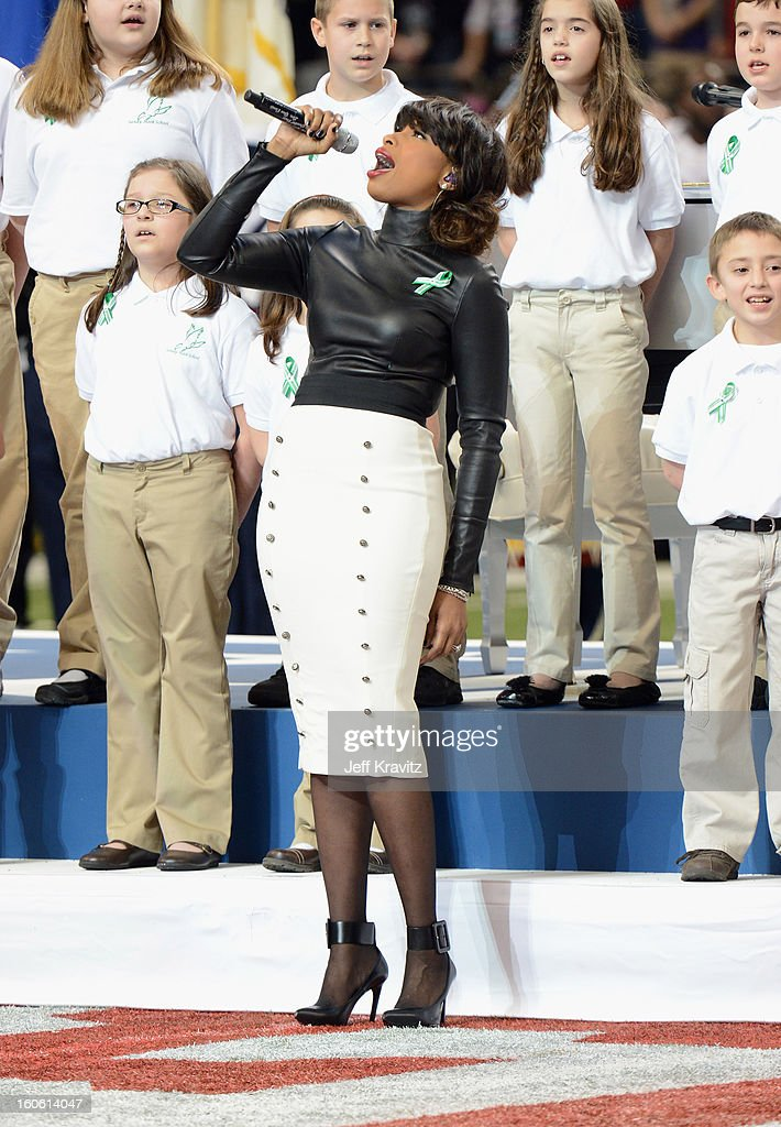 A group of 26 students from the Sandy Hook Elementary School in Newtown, Connecticut perform America the Beautiful with singer Jennifer Hudson during the Pepsi Super Bowl XLVII Pregame Show at Mercedes-Benz Superdome on February 3, 2013 in New Orleans, Louisiana.