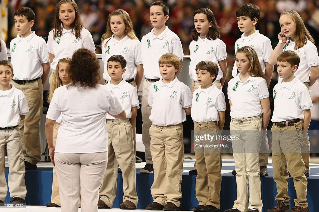 A group of 26 students from the Sandy Hook Elementary School in Newtown, Connecticut perform America the Beautiful during the Pepsi Super Bowl XLVII Pregame Show at Mercedes-Benz Superdome on February 3, 2013 in New Orleans, Louisiana.