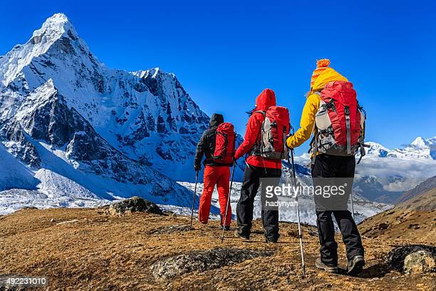 Group of 3 trekkers in Mount Everest National Park, Nepal
