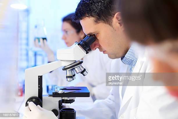 グループの科学者が研究室で働いています。