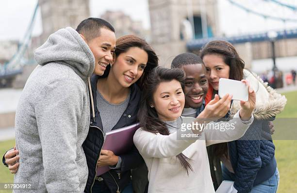 Group of abroad students taking a selfie