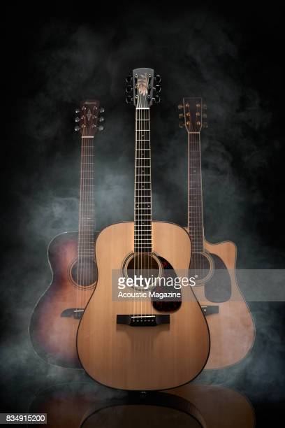 A group of acoustic and electroacoustic guitars including an Alvarez AFA 1965 Anniversary Series Larrivee European Flamed Ash Limited Edition D03 and...