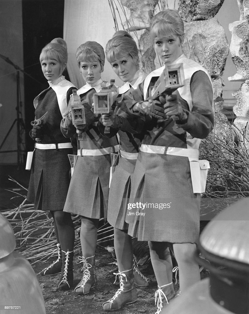 A group of actresses playing 'Drahvins' in 'Galaxy 4' a fourpart serial of the popular British television scifi series 'Doctor Who' 24th June 1965...