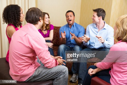 Group of adults passionately talking about something