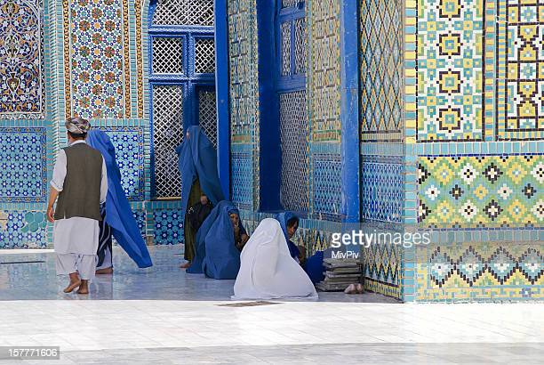 Group of Afghan women gathered at the Blue Mosque.